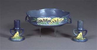 """1130: Three-Piece Roseville Pottery """"Freesia"""" Console S"""