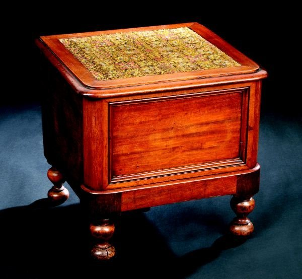 3: William IV Mahogany Lift-Top Bed-Step Commode