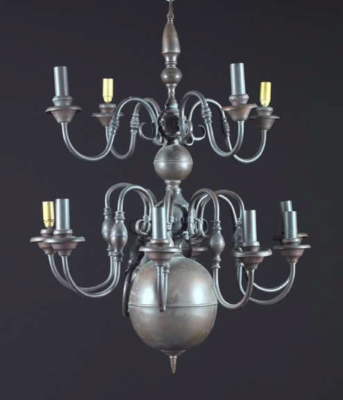 24: English Patinated Brass Baluster Chandelier