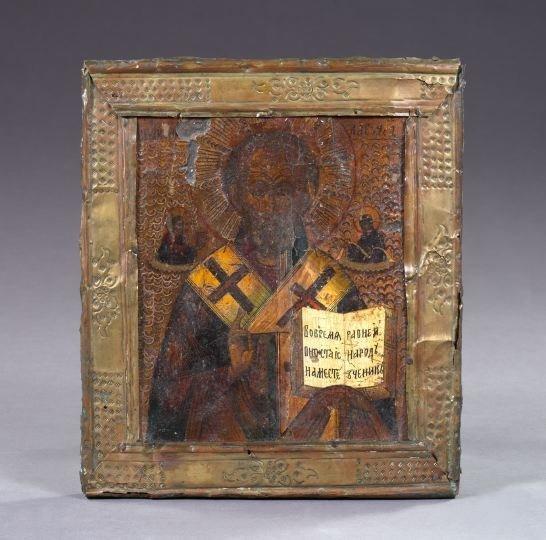 753: Russian Polychromed Wooden Ikon