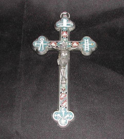 756: Italian Chromium and Micro-Mosaic Crucifix