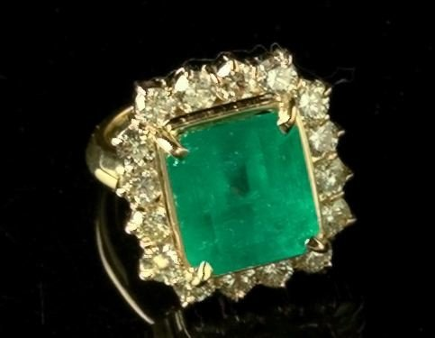 768: Gold, Emerald and Diamond Dinner Ring