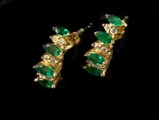 771: Gold, Emerald and Diamond Earrings
