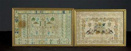 841: Two Early Framed Needlepoint Samplers