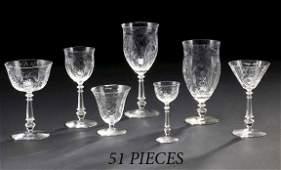 1039: American Rock Crystal-Cut Glass Stemware Service