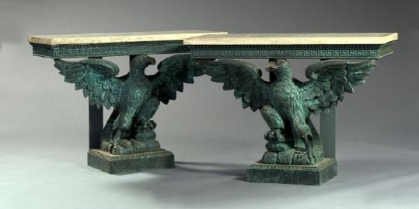 """2: English """"Displayed Eagle"""" Pine Console Tables"""