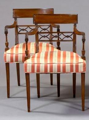 8: Pair of Regency-Style Mahogany Armchairs