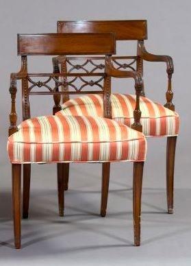 9: Pair of Regency-Style Mahogany Armchairs