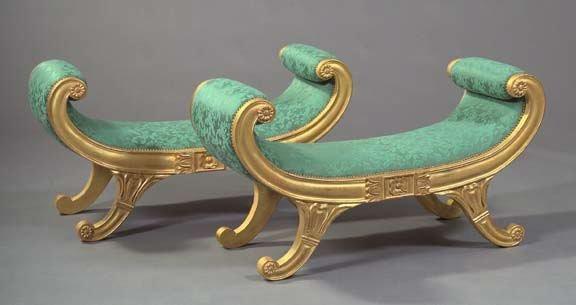 11: Pair of Regency-Style Giltwood Window Seats