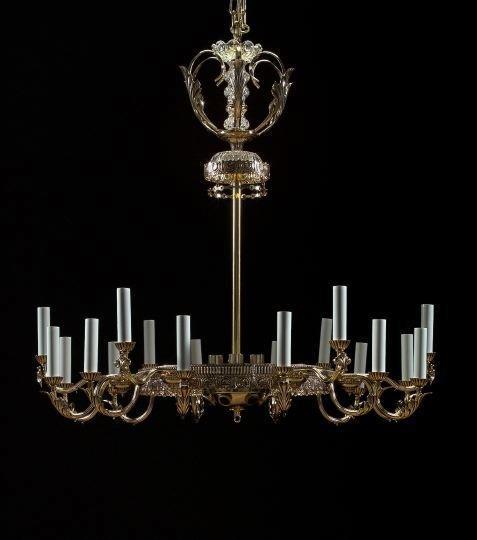 12: Schoenbeck Thirty-Light Brass, Crystal Chandelier