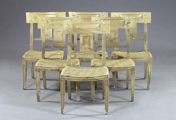 13: Six Regency-Style Polychromed Sidechairs