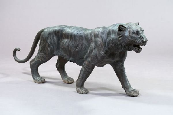 17: Large Patinated Bronze Figure of a Siberian Tiger