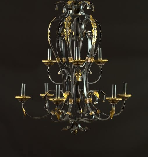 606: Large French Nine-Light Wrought-Iron Chandelier
