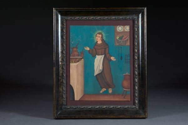 701: Spanish Colonial Painted Metal Panel