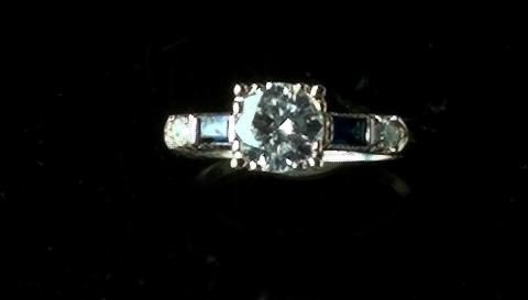 710: White Gold Sapphire and Diamond Ring