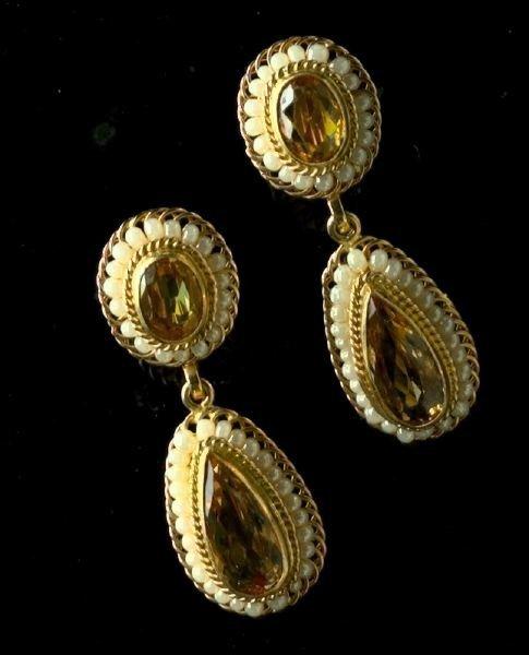 719: Yellow Gold Imperial Topaz Pendant Earrings