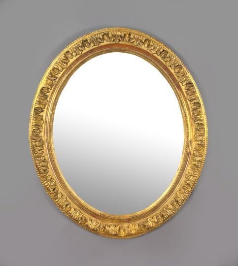 2: English Oval Carved Giltwood and Plaster Mirror