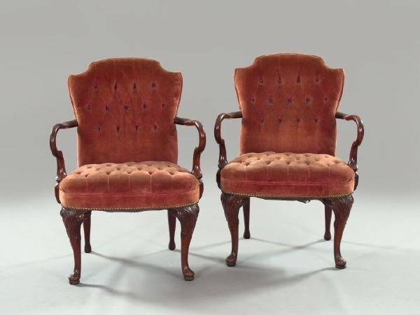 6: Pair of Queen Anne-Style Mahogany Armchairs