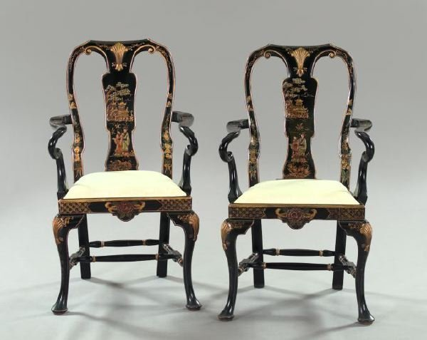 10: Queen Anne-Style Ebonized and Polychred Armchairs