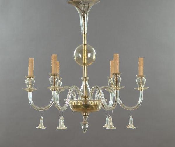 17: Good Six-Light Murano Chandelier,