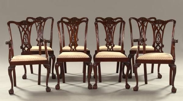 20: Eight Chippendale-Style Mahogany Dining Chairs