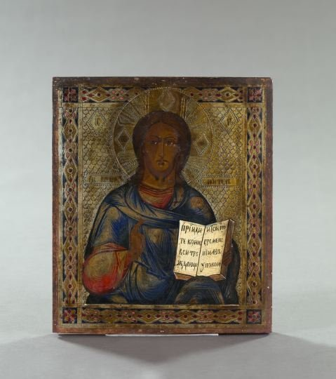 726: Russian Polychromed and Parcel-Gilt Wooden Ikon