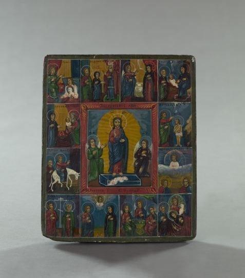 730: Russian Polychromed Wood Ikon