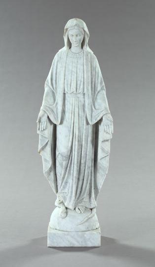 734: Italian Carved Veined Carrara Marble Garden Figure