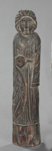 735: Spanish Colonial Carved and Gray-Stained Figure