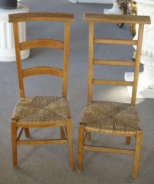 737: Near Pair of French Provincial Fruitwood Prie Deux