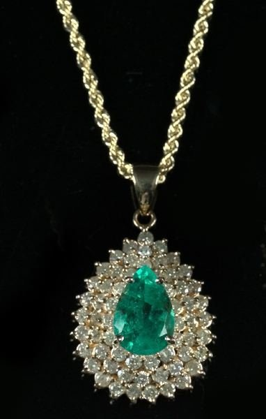 743: Yellow Gold, Emerald and Diamond Pendant and Chain
