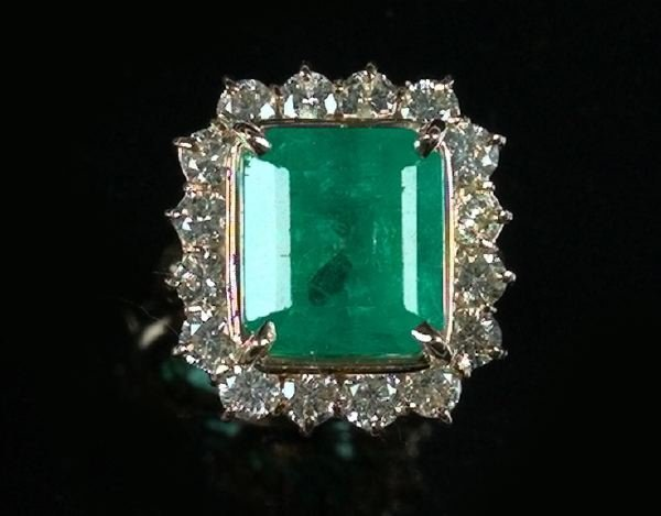 744: Yellow Gold, Emerald and Diamond Dinner Ring