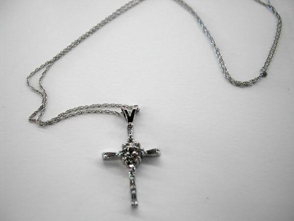 745: White Gold and Diamond Pendant Cross on Chain