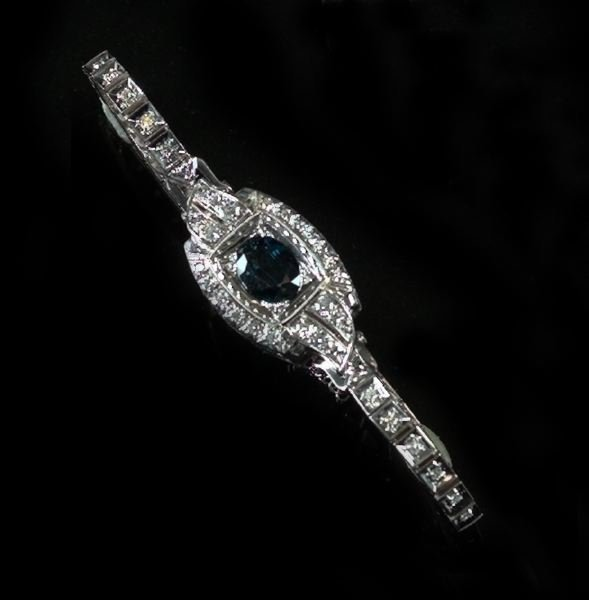 747: White Gold, Sapphire and Diamond Art Deco Bracelet