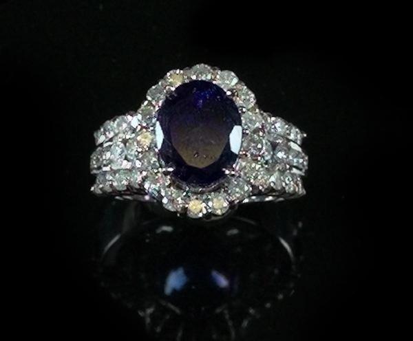 749: White Gold, Tanzanite and Diamond Dinner Ring