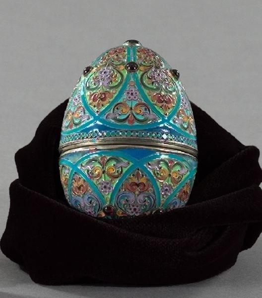 799: Russian Cabochon Garnet-Set Sterling Silver Box