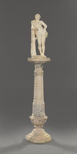 1086: Italian Carved Carrara Marble Figure,
