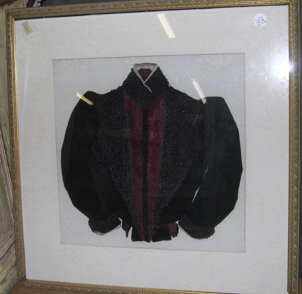 1112: Shadowboxed Lady's Black Velvet and Silk Jacket