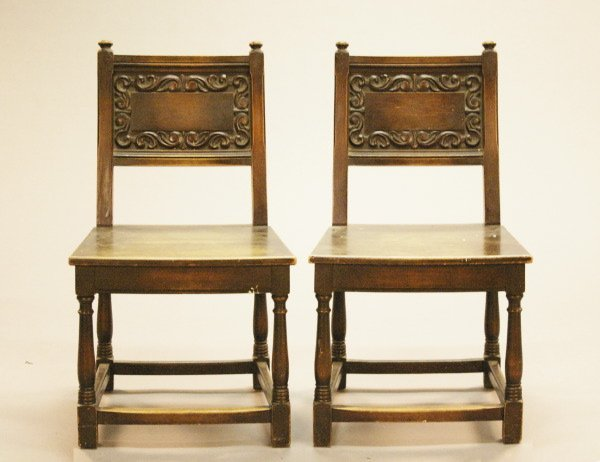 7: Pair of English Jacobean-Style Carved Sidechairs