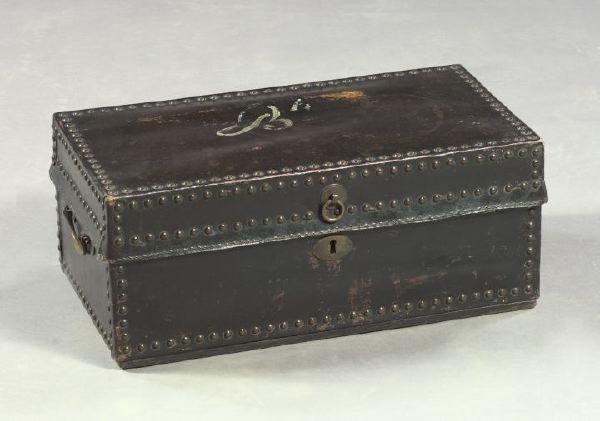 15: English Black Leather Trunk