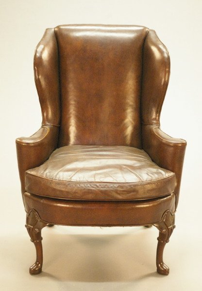 21: Queen Anne-Style Mahogany Wing Chair,