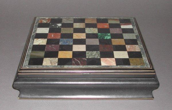 448: Italian Gilt-Banded Wood and Hardstone Games Box