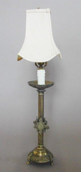 779: Tall Franco-American Brass Pricket Candlestick Lam