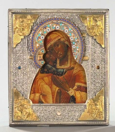 781: Russian Polychromed Wooden Ikon