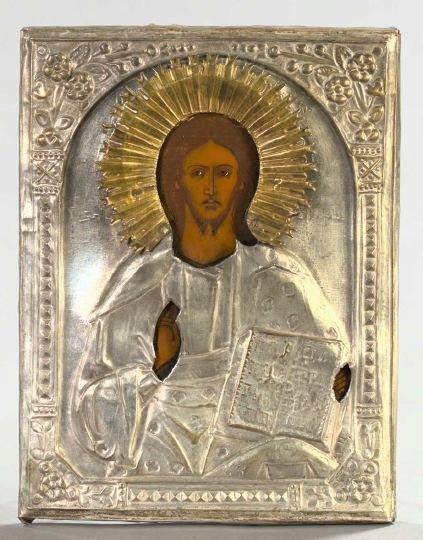 782: Russian Polychromed Wooden Ikon
