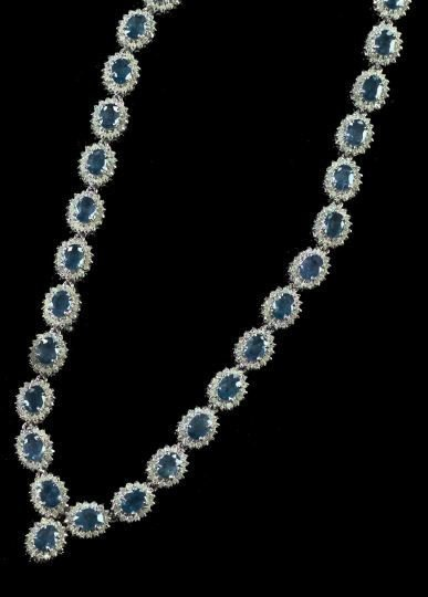 793: White Gold, Sapphire and Diamond Necklace