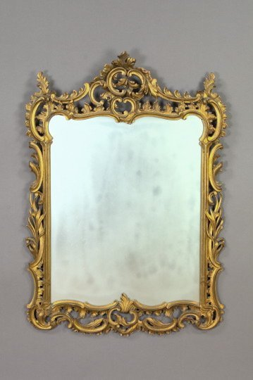 4: Large French Carved Giltwood Looking Glass,