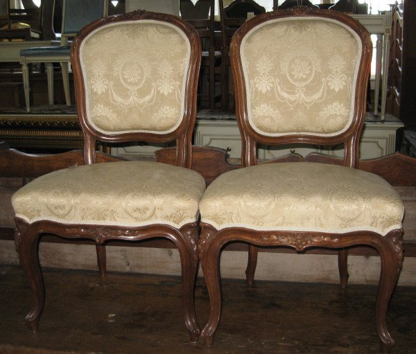 11: Fine Pair of Louis XV-Style Walnut Sidechairs