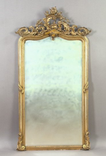15: Napoleon III Carved Giltwood and Plaster Mirror