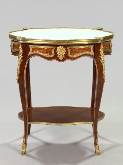 16: Louis XV-Style Kingwood and Marble-Top Table